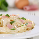 Spaghetti Carbonara noodles pasta meal with ham Royalty Free Stock Photography