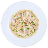 Spaghetti Carbonara noodles pasta meal isolated Stock Images