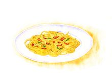 Spaghetti carbonara painting by watercolor Stock Photography