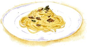 Spaghetti carbonara painting by watercolor Royalty Free Stock Photos