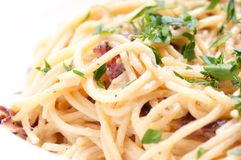 Spaghetti carbonara. Pasta alfredo sauce with bacon Stock Image
