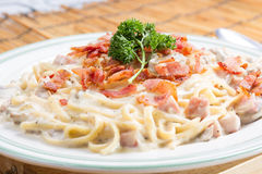 Spaghetti carbonara on the plate. / cooking spaghetti concept Royalty Free Stock Image