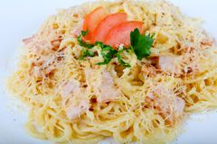 Spaghetti carbonara. With pork, cheese and parsley Stock Image