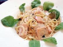 Spaghetti Carbonara Salmon Stock Images
