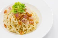 Spaghetti carbonara sauce with bacon Royalty Free Stock Photography