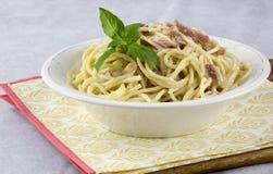 Spaghetti with carbonara sauce royalty free stock photos