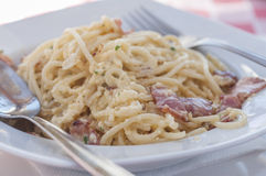 Spaghetti carbonara series 04 Royalty Free Stock Photo