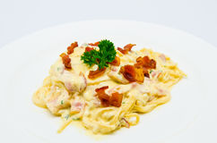 Spaghetti Carbonara. Served with bacon Stock Photos
