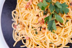 Spaghetti Carbonara. With some parsley on a black plate on a white background royalty free stock image