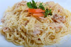 Spaghetti carbonara. With pork, cheese and parsley Stock Images
