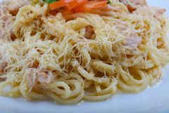 Spaghetti carbonara. With pork, cheese and parsley Royalty Free Stock Photography