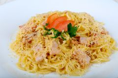 Spaghetti carbonara. With pork, cheese and parsley Royalty Free Stock Photo