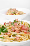 Spaghetti carbonara two servings Royalty Free Stock Photo