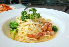 Spaghetti Carbonara with Vegetables and Ham Royalty Free Stock Photo