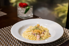 Spaghetti carbonara. On the white plate Royalty Free Stock Photo