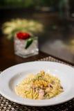 Spaghetti carbonara. On the white plate Stock Photos