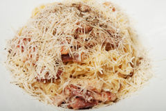 Spaghetti Carbonara on a white plate. Stock Photography