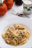 Spaghetti carbonara in white plate Royalty Free Stock Photo