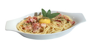 Spaghetti Carbonara with yolk and sage Royalty Free Stock Images