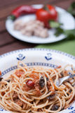 Spaghetti carrettiera. Typical dish of traditional Roman and Italian cuisine made from spaghetti pasta, dried mushrooms, tuna, onion, olive oil Royalty Free Stock Photos