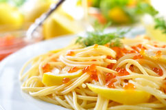 Spaghetti with caviar Royalty Free Stock Photography