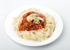 Spaghetti and champignons Stock Photography