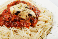 Spaghetti and champignons Royalty Free Stock Photo