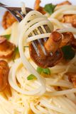 Spaghetti with chanterelles and fork macro vertical Stock Photo