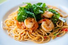 Spaghetti chauds et épicés savoureux Images libres de droits