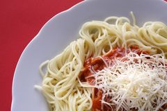 Spaghetti with Cheese. Graham spaghetti with ketchup and cheese Stock Images