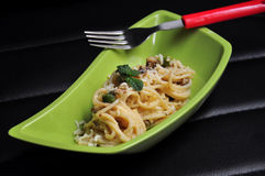 Spaghetti with cheese and mushroom Stock Images