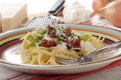 Spaghetti with cheese sauce and pancetta Stock Photo