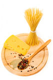 Spaghetti with cheese and spices Royalty Free Stock Images