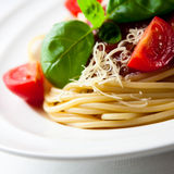 Spaghetti with cherry tomatoes Royalty Free Stock Image