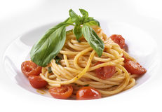 Spaghetti with cherry tomatoes and fresh herbs Royalty Free Stock Photo