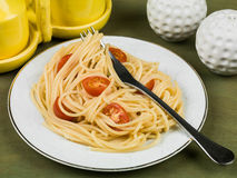 Spaghetti with Cherry Tomatoes Royalty Free Stock Photography