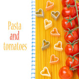 spaghetti, cherry tomatoes and pasta in the form of hearts Royalty Free Stock Image