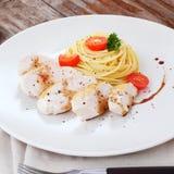 Spaghetti with chicken Stock Photo