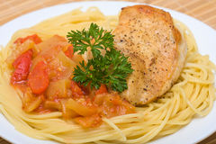 Spaghetti with chicken Stock Photography