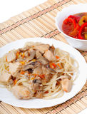 Spaghetti with chicken Royalty Free Stock Image