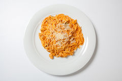 Spaghetti with chicken, cooked in spicy sauce from tomatoes, onion and garlic. stock image