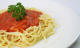 Spaghetti and chicken Stock Images