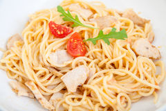 Spaghetti with chicken fillet Stock Photo