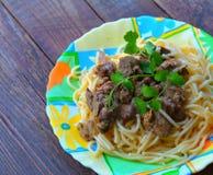 Spaghetti with chicken liver Stock Photo