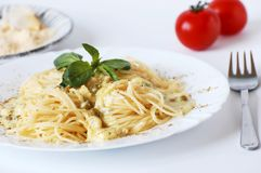 Spaghetti with chicken meat Stock Photography