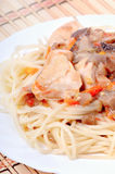 Spaghetti with chicken meat Royalty Free Stock Photo