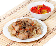 Spaghetti with chicken meat and mushrooms Royalty Free Stock Photography