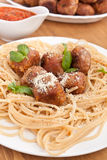 Spaghetti with chicken meatballs Royalty Free Stock Image