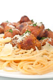 Spaghetti with chicken meatballs Stock Photos