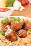 Spaghetti with Chicken Meatballs Royalty Free Stock Photos